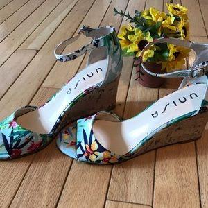 Unisa Blue Island Floral Sandal Wedges 7.5